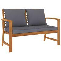 vidaXL Záhradná lavička s tmavosivými vankúšmi 120 cm akáciový masív