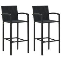 vidaXL Barové stoličky 2 ks, čierne, polyratan