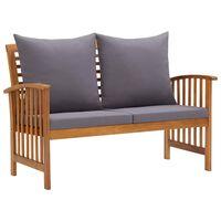 vidaXL Záhradná lavička s podložkami 119 cm, akáciový masív