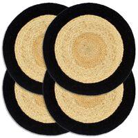 vidaXL Prestierania 4 ks, prírodná a čierna 38 cm, juta a bavlna