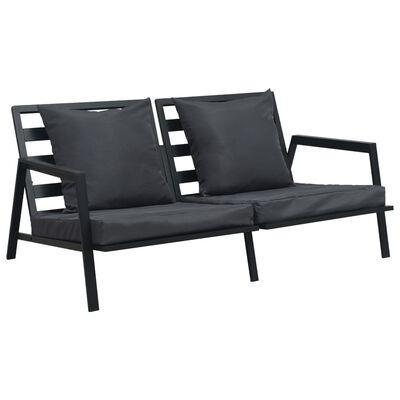 vidaXL 5-dielna záhradná sedacia súprava s podložkami tmavosivá hliníková