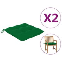 vidaXL Podložky na stoličku 2 ks, zelené 50x50x7 cm, látka
