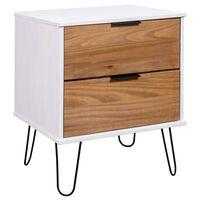 vidaXL Nočný stolík bledé drevo a biela 45x39,5x57 cm borovicový masív