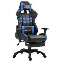 vidaXL Herná stolička s opierkou na nohy, modrá, umelá koža