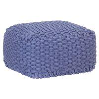 vidaXL Ručne pletená taburetka modrá 50x50x30 cm bavlnená