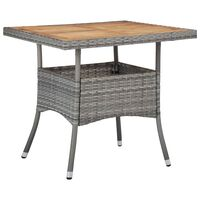 vidaXL Vonkajší jedálenský stôl sivý polyratan a akáciový masív
