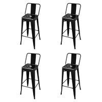 vidaXL Barové stoličky 4 ks, čierne, oceľ