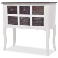 vidaXL Konzolový stolík so 6 zásuvkami, hnedo-biely, drevený