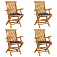 vidaXL Záhradné stoličky, sivohnedé podložky 4 ks, tíkový masív