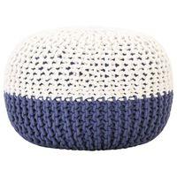 vidaXL Ručne pletená taburetka modro-biela 50x35 cm bavlnená