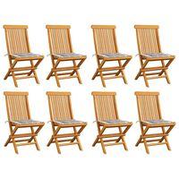 vidaXL Záhradné stoličky so sivými kockovanými podložkami 8 ks tíkový masív