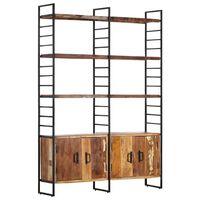vidaXL 4-poschodová knižnica 124x30x180 cm, recyklovaný masív