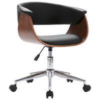vidaXL Otočná kancelárska stolička čierna ohýbané drevo a umelá koža
