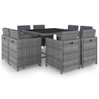 vidaXL 9-dielna vonkajšia jedálenská súprava+podložky, polyratan, sivá
