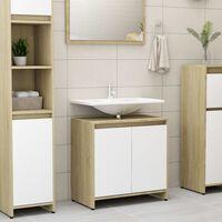 vidaXL Skrinka do kúpeľne, biela a dub sonoma 60x33x58cm, drevotrieska