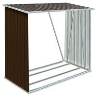 vidaXL Záhradná kôlňa na drevo z galvanizovanej ocele 163x83x154 cm hnedá