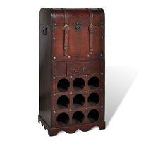 vidaXL Drevený stojan na víno na 9 fliaš s úložným priestorom
