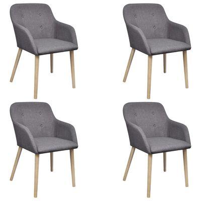 vidaXL Jedálenské stoličky 4 ks, svetlosivé, látka a dubový masív
