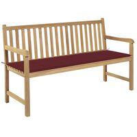 vidaXL Záhradná lavička s vínovočervenou podložkou 150 cm tíkový masív
