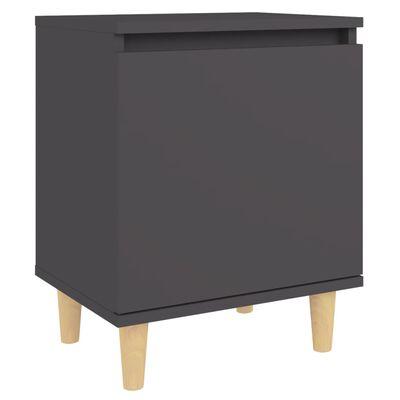 vidaXL Nočný stolík nohy z masívneho dreva sivý 40x30x50 cm