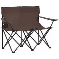 vidaXL 2-miestna skladacia kempingová stolička oceľ a látka sivohnedá