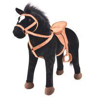 vidaXL Stojaci plyšový hračkársky koník, čierny