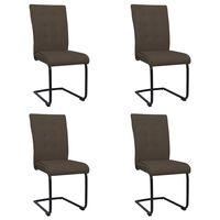 vidaXL Jedálenské stoličky, perová kostra 4 ks, hnedé, látka