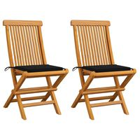 vidaXL Záhradné stoličky, čierne podložky 2 ks, tíkový masív