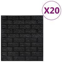 vidaXL 3D tapeta tehly samolepiaca 20 ks čierna