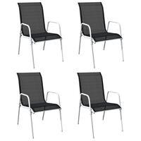 vidaXL Stohovateľné záhradné stoličky 4 ks oceľ a textilén čierne