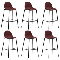 vidaXL Barové stoličky 6 ks, vínovo červené, látka