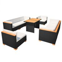 vidaXL 10-dielna záhradná sedacia súprava+podložky, polyratan, čierna