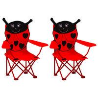 vidaXL Detské záhradné stoličky 2 ks červené látkové