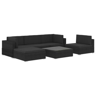 vidaXL 6-dielna záhradná sedacia súprava+podložky, polyratan, čierna