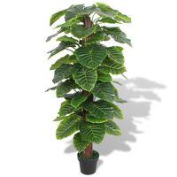 vidaXL Umelá rastlina, kolokázia s kvetináčom 145 cm, zelená