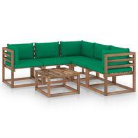 vidaXL 6-dielna záhradná sedacia súprava zelené podložky impregnovaná borovica