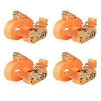 vidaXL Upínacie popruhy s račňou 4 ks, 0,4 tony, 6mx25mm, oranžové