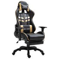 vidaXL Herná stolička s opierkou na nohy, zlatá, umelá koža