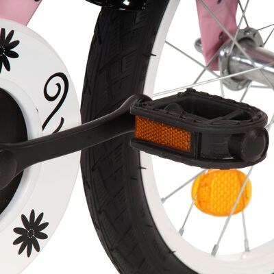 vidaXL Detský bicykel s predným nosičom 12 palcový biely a ružový