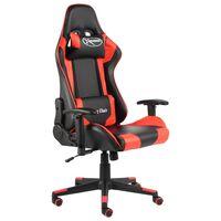 vidaXL Otočná herná stolička červená PVC