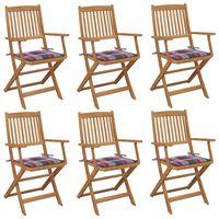 vidaXL Skladacie záhradné stoličky s podložkami 6 ks akáciový masív
