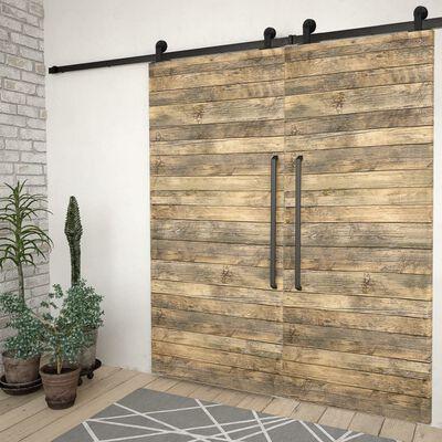 vidaXL Kovanie na posuvné dvere 2 ks čierne 200 cm oceľové