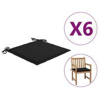 vidaXL Podložky na záhradné stoličky 6 ks čierne 50x50x4 cm látka