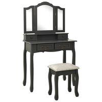 vidaXL Toaletný stolík so stoličkou, sivý 80x69x141 cm, paulovnia