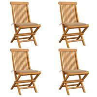 vidaXL Záhradné stoličky, béžové podložky 4 ks, tíkový masív