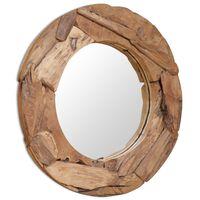 vidaXL Dekoratívne zrkadlo z teakového dreva, 80 cm, okrúhle