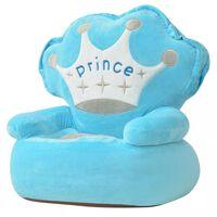 vidaXL Detské plyšové kreslo Prince, modré
