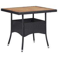 vidaXL Vonkajší jedálenský stôl čierny polyratan a akáciový masív