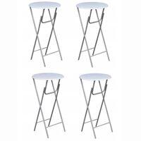 vidaXL Barové stoly 4 ks s doskou z MDF, biele