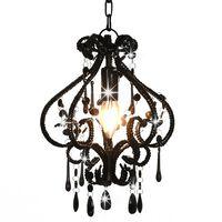 vidaXL Stropná lampa s krištálikmi, čierna, okrúhla E14